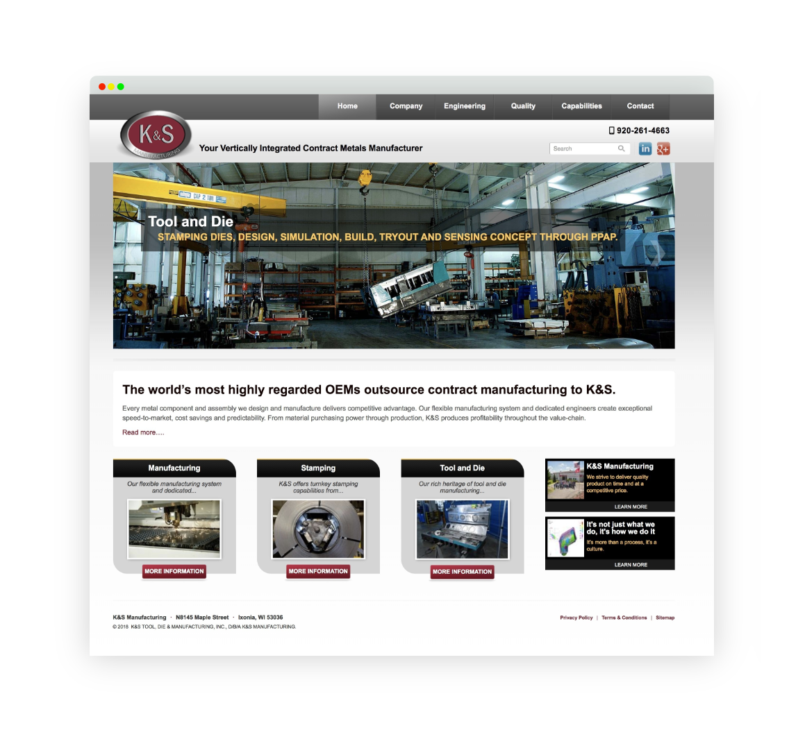 K&S Manufacturing Home Page Screenshot